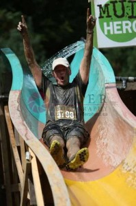 Rick Jessup on the mud slide @ 2013 Mud Hero